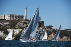 J/105s sailing past Alcatraz Island on San Francisco Bay