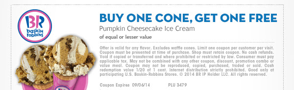BUY ONE CONE, GET ONE FREE