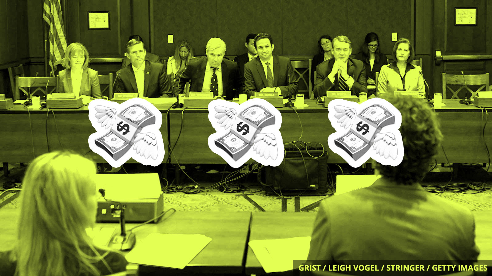 Flying dollar bills in front of a committee of senators.