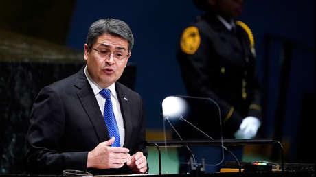 El presidente de Honduras, Juan Orlando Hernández, en la 74 sesión de la Asamblea General de las Naciones Unidas el 25 de septiembre de 2019.