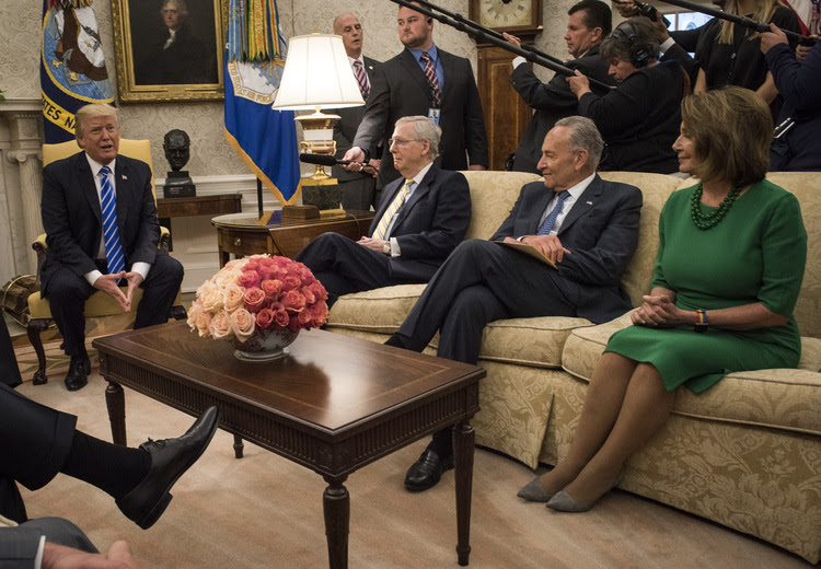 Trump meets with Hill leadership in the Oval Office. (Bill O'Leary/The Washington Post)