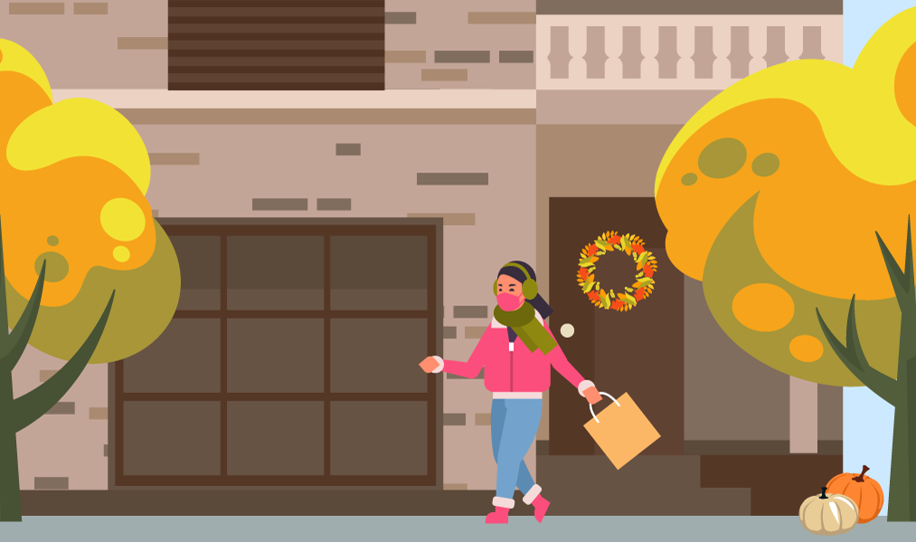 illustration of a young woman leaving home wearing a mask