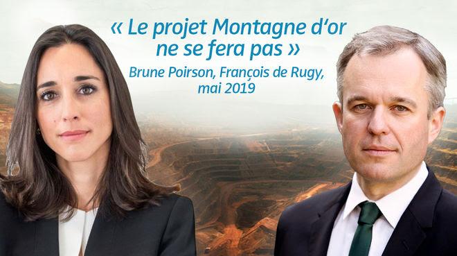Photomontage : Brune Poirson et François de Rugy avec en arrière plan un exemple de mine industrielle. Citation : « Le projet Montagne d'or ne se fera pas » datant de mai 2019
