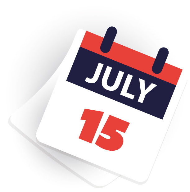 Calendar page of the extended tax deadline of July 15