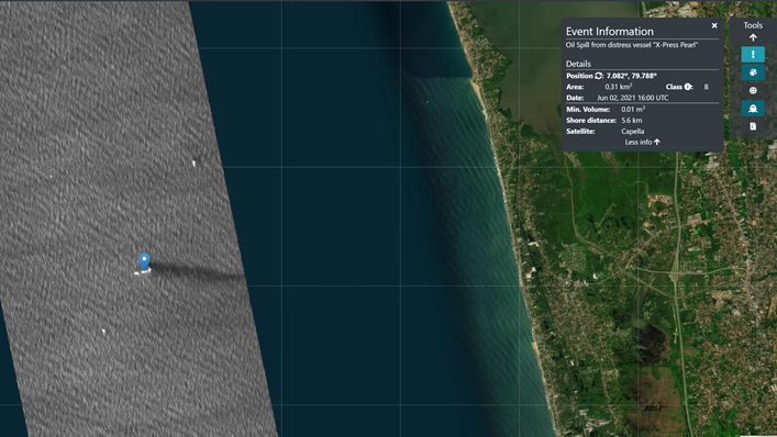 A screenshot of satellite data analyzed by Orbital EOS, showing an oil spill near Sri Lanka.