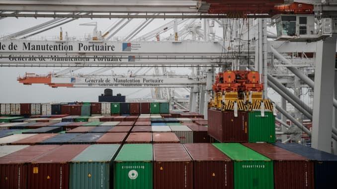 O porto de Le Havre, noroeste da França, em 21 de janeiro de 2021.