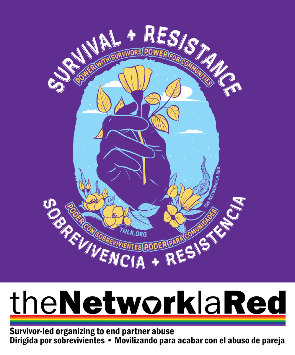 The Network/La Red Logo below a purple square with the words