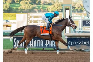 Roy H powers home in the Palos Verdes Stakes at Santa Anita Park