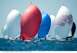 J/70 fleet sailing off Italy