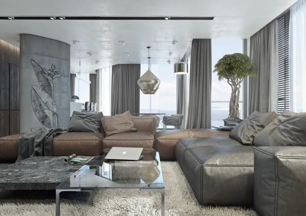 Το διαμέρισμα τραβά επίσης σε ορισμένα φυσικά στοιχεία με φυτά εσωτερικού χώρου που μιμούνται το πράσινο έξω από το παράθυρο.