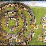 Les deux armées s'affrontent. École pahāṛī, Kāṇgrā, vers 1820. Gouache et or sur papier. Collection particulière. (Copyright : Photothèque Enrico Isacco)