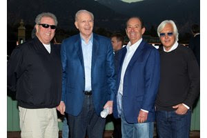 (L-R): Owners Mike Pegram, Paul Weitman, and Karl Watson and trainer Bob Baffert will run Azul Coast in the El Camino Real Derby