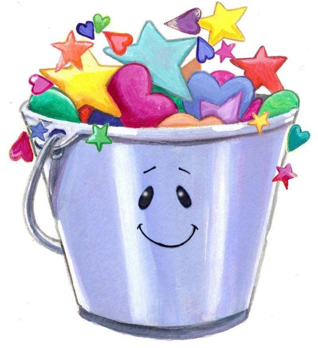 A cartoon bucket filled to overflowing with multicolored stars and hearts