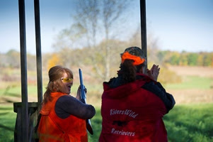 two ladies chatting at ladies pheasant hunt event