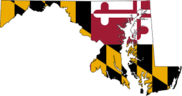 Outline of Maryland filled in with flag pattern