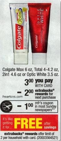 FREE Colgate toothpaste at CVS...