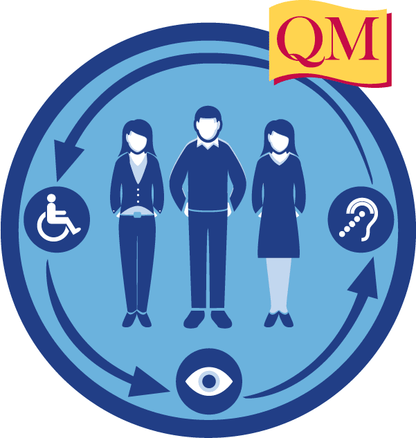 three people inside a circle with accessibility icons