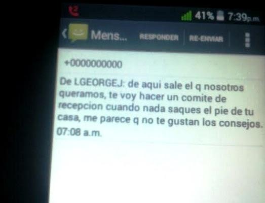 Mensaje de la Seguridad del Estado al activista de UNPACU Yoannis Beltrán Gamboa (foto del autor)