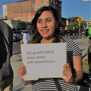 """Defend DACA"" action, Aug 15 2017, organized by members of PJALS Showing Up for Racial Justice committee"