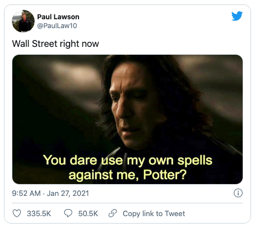 Tweet by Paul Lawson, Wall street right now