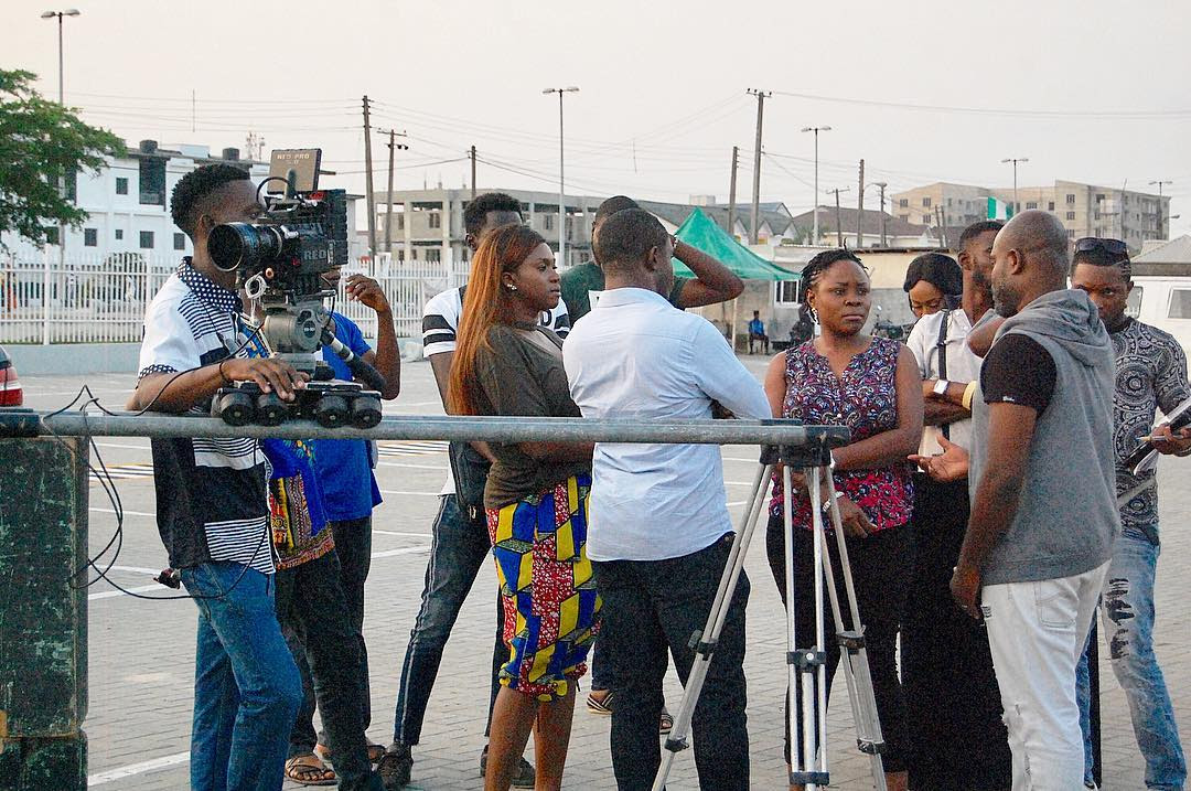 Omawumi and Waje on the set of 'She Is' [Instagram/Hermanes Media]