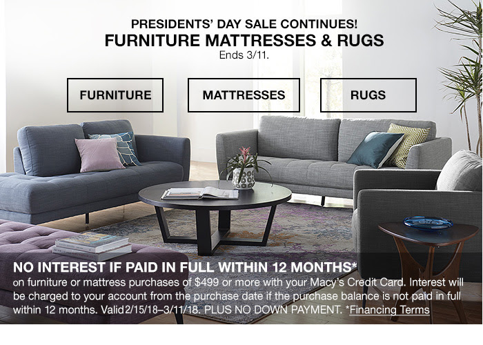 Presidents' Day Sale Continues! Furniture Mattresses & Rugs Ends 3/11.