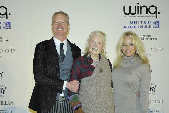 Dan Mathews with Vivienne Westwood and Pamela Anderson