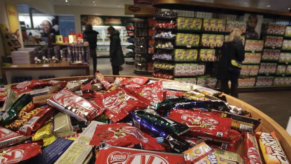 Different types of chocolate bars are seen in the company supermarket at the Nestle headquarters in Vevey, Switzerland, Feb. 19, 2010.