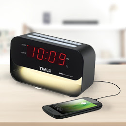 Timex Dual Alarm Clock with USB Charging and Night Light - Black