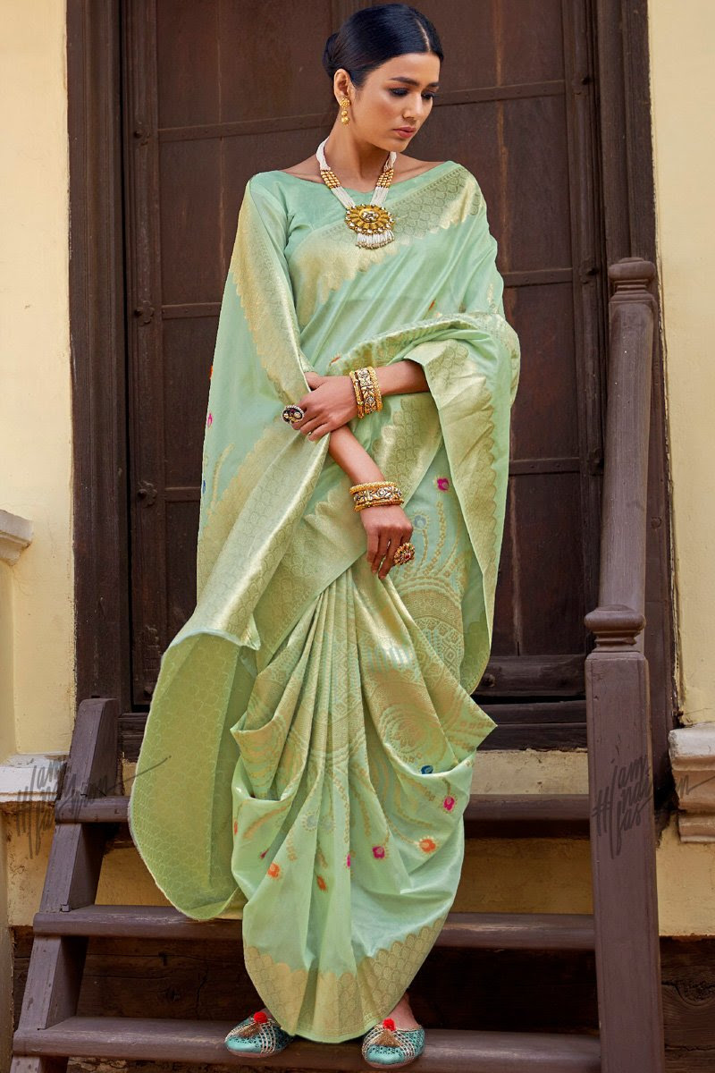 Pastel Green and Gold Silk Saree