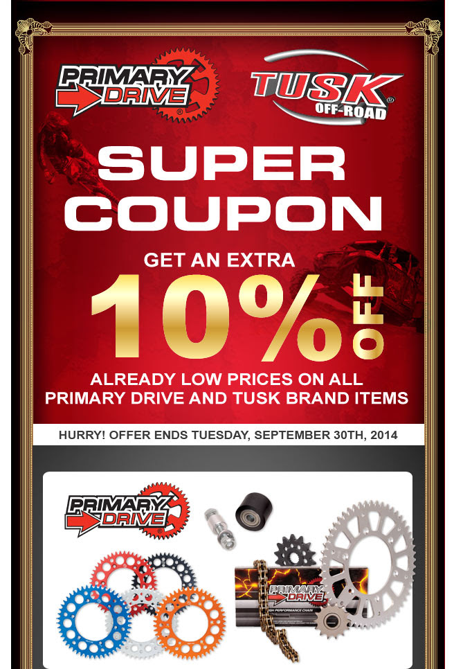 Primary drive and tusk super coupon dirt wheels magazine for Mountain house coupon