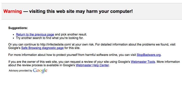 Aviso Malware Google