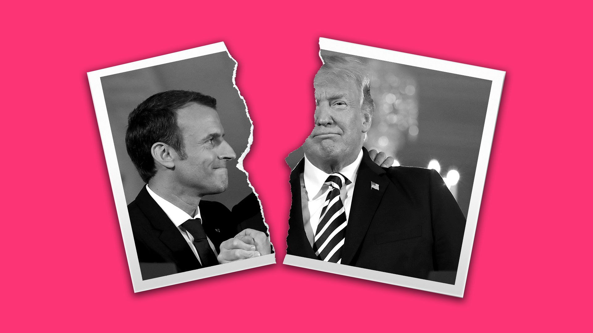 Illustration of torn photo of President Trump and President Macron