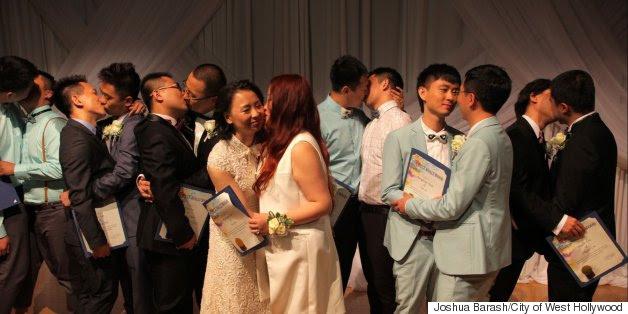 Alibaba ajuda os casais LGBT chineses dizem 'nós fazemos', em West Hollywood