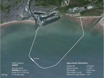 Plan for the proposed tidal lagoon in Swansea Bay.