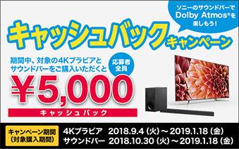 期間中、対象の4Kブラビアとサウンドバーをご購入いただくと応募者全員¥5,000キャッシュバック キャンペーン期間(対象購入期間)4Kブラビア 2018.9.4(火)~2019.1.18(金) サウンドバー 2018.10.30(火)~2019.1.18(金)