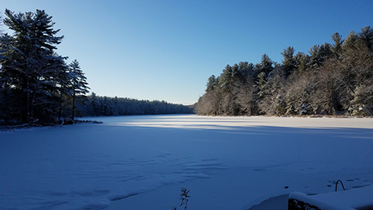 Gaston Pond in the winter.
