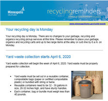 example Recycling Reminder email