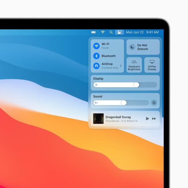 顯示在 MacBook Pro 上 macOS Big Sur 中的「控制中心」。