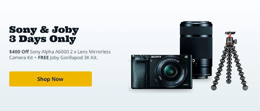 Sony Alpha A6000 Mirrorless with 16-50mm & 55-210mm OSS Lenses Black/Joby Pod 3K