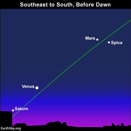 Are you a morning person? Then look for the four morning planets. Venus and Saturn appear low in the southeast, not far from the sunrise point on the horizon. Mars is to the south at this early morning hour whereas brilliant Jupiter shines to the right of Mars and Spica, outside the sky chart. The green line depicts the ecliptic - Earth's orbital plane projected outward onto the great dome of sky.