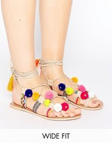 ASOS FRESH Wide Fit Leather Pom Tie Leg Sandals