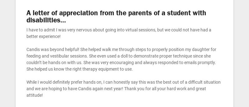 A letter of appreciation from the parents of a student with disabilities...