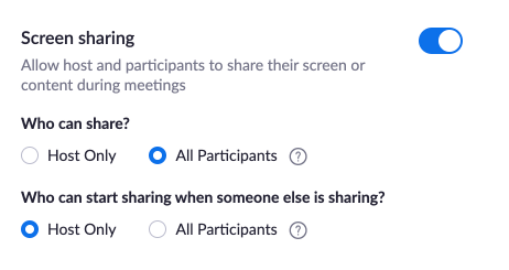 This image shows the setting option for sharing a screen when using Zoom