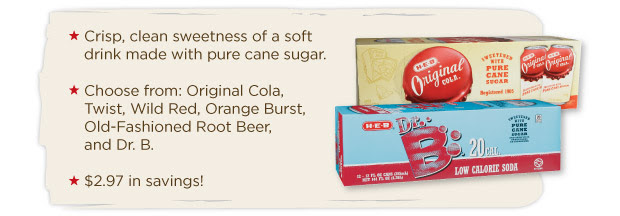 H-E-B Pure Cane Sugar Soda