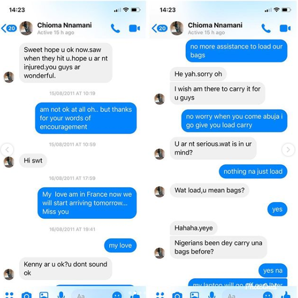 Super Eagles defender, Kenneth Omeruo shares hilarious Facebook chats with his wife from 11-years back