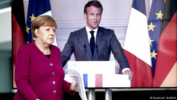 Angela Merkel e Macron em vídeo