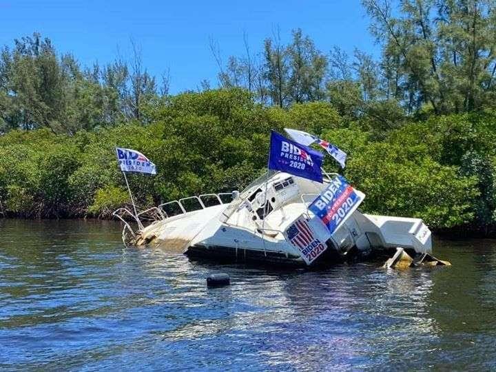 crashed Joe Biden boat
