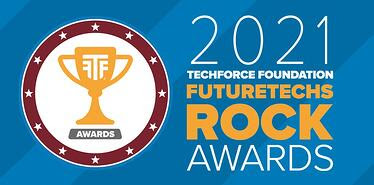 "2021 FutureTechs Rock Awards logo on a blue background. The logo includes the words ""2021 TechForce Foundation FutureTechs Rock Awards"""