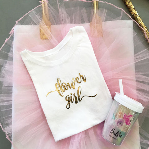 Flower Girl Shirt and Personalized Sippy Cup
